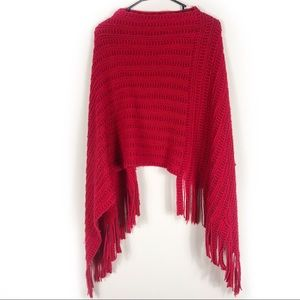 Red Knit Fringe Pullover Shawl